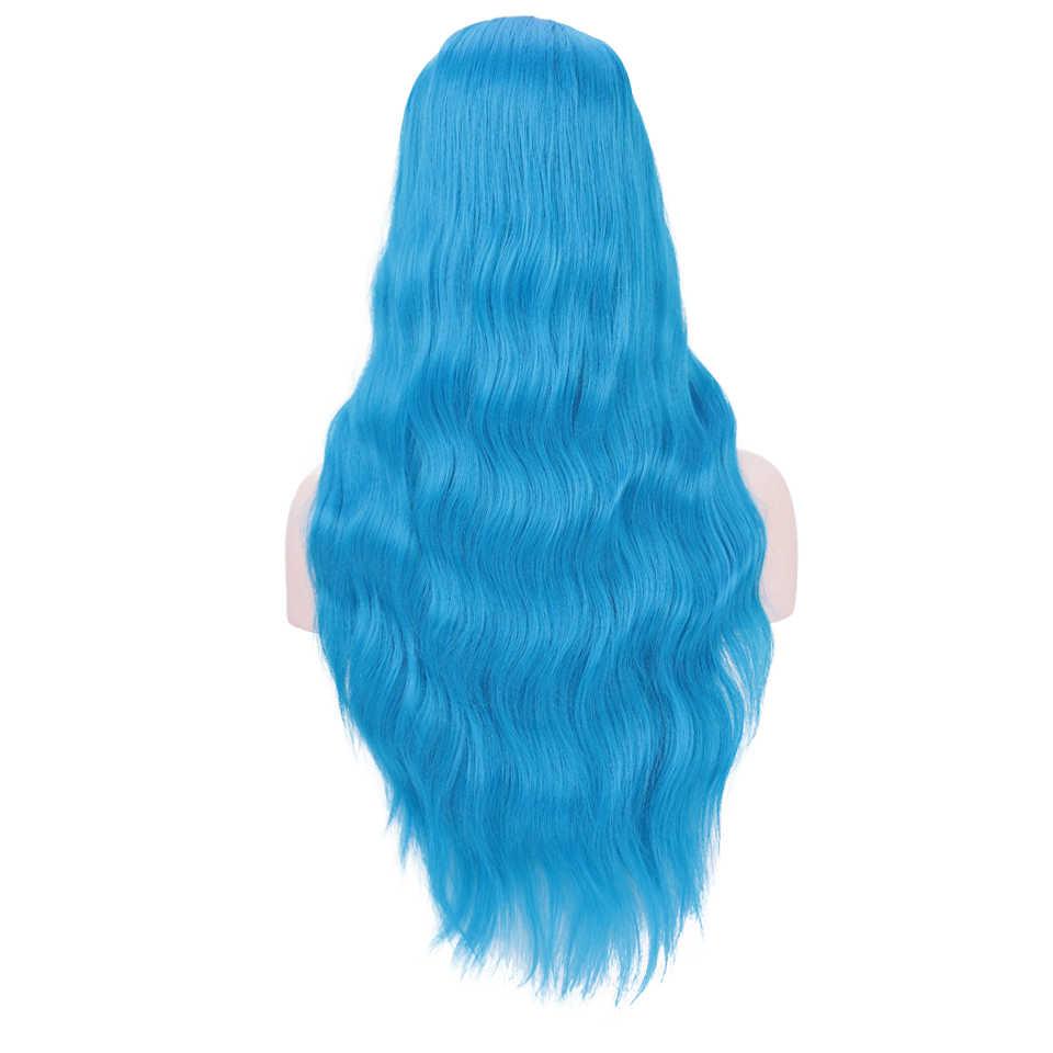 DIFEI волосы 26 дюймов длинные волнистые парики синий зеленый красный черный синтетический парик натуральная средняя часть термостойкие волосы для черных женщин