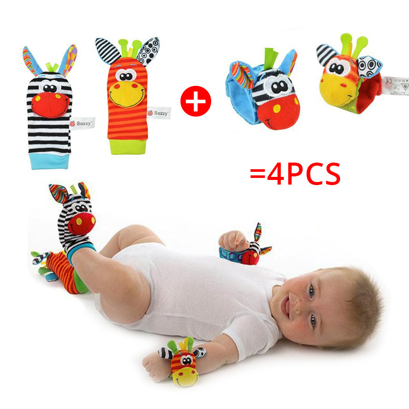 Sozzy Baby Rattles Soft Plush Toys 4 Piece Foot Wrist Rattle Set Cartoon Newborn Development Educational Toys For Children Gift