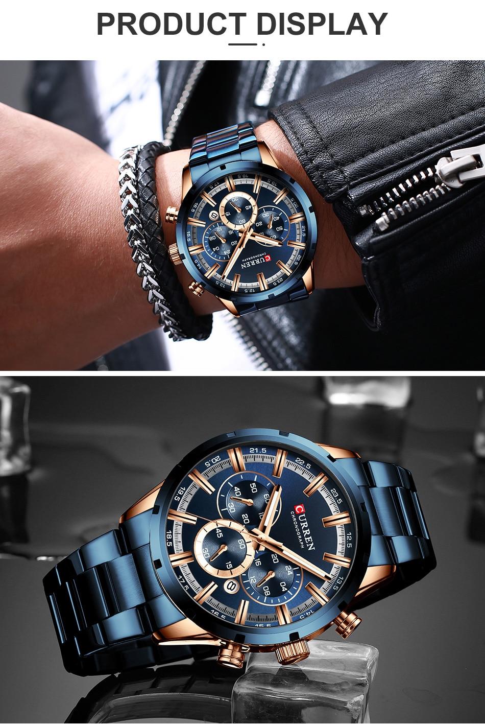 Hf126307175a7426bb4ae4fbe41394e9c8 CURREN Men Watch Top Brand Luxury Sports Quartz Mens Watches Full Steel Waterproof Chronograph Wristwatch Men Relogio Masculino
