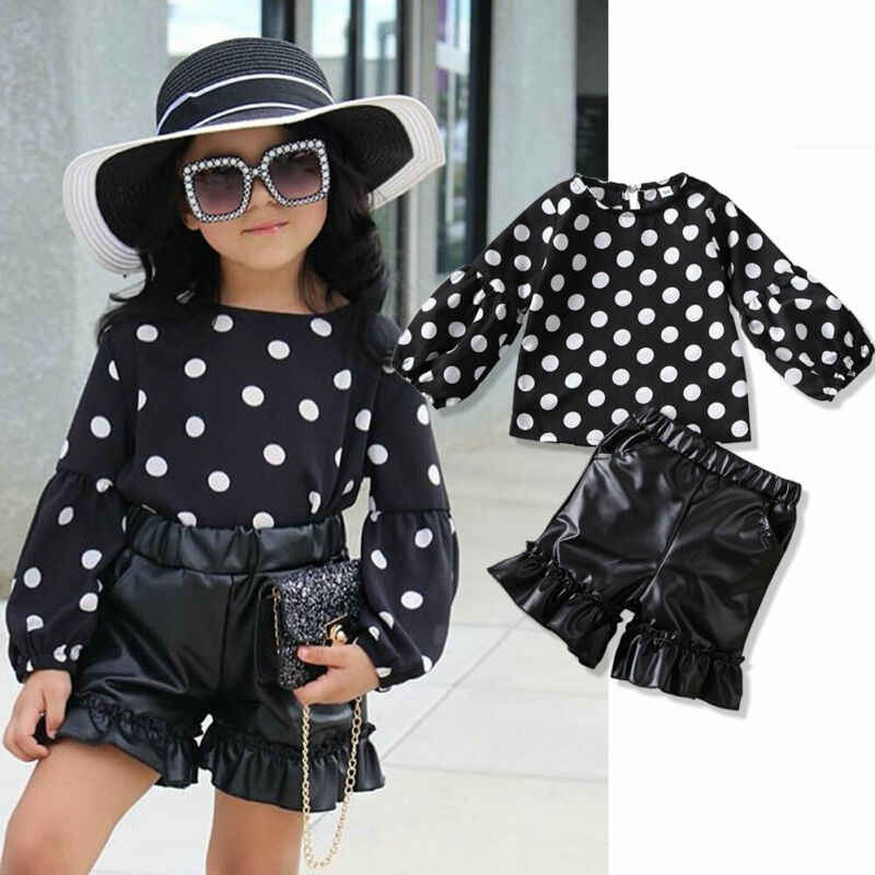 Toddler Baby Girl Kid Set Polka-dot Shirts Tops Pu Ruffers Shorts Leather Pants 2pcs  Clothes 1-6Y
