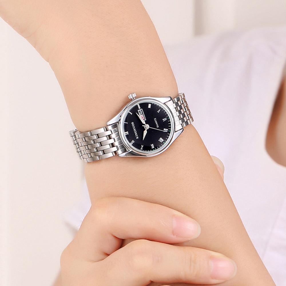 KINGNUOS Fashion Rome Numerals Steel Band Men Women Watch Calendar Week Display Waterproof Luminous Lovers Quartz Wrist Watches