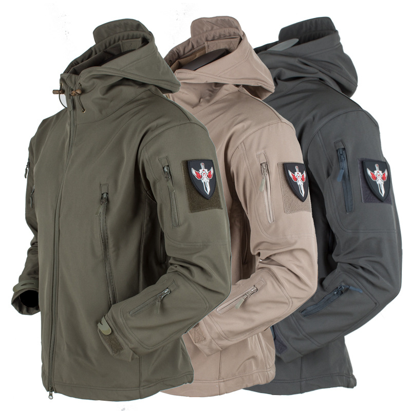 Men Military Jacket Winter Soft Shell Waterproof Army Tactical Jacket Pockets Zipper Hooded Camouflage Male Windbreaker Coat 3XL
