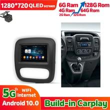 Автомобильный радиоприемник 128 Гб ПЗУ, стерео для OPEL Vivaro 2014 Android 10 для Renault Trafic 2015, мультимедиа, GPS-навигация, головное устройство Carplay