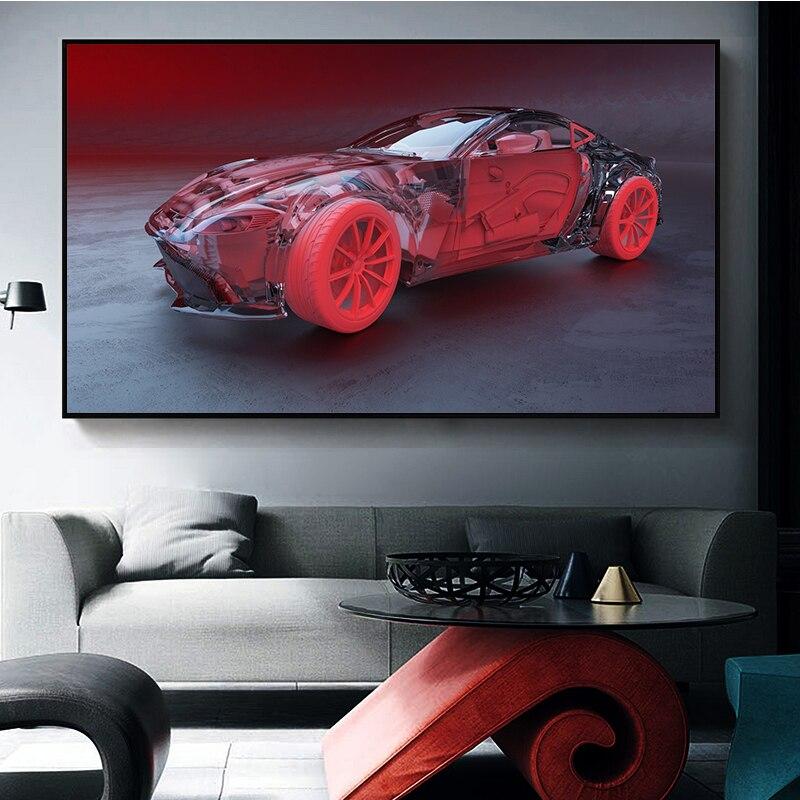 Interior intuitivo de carteles de coche deportivo rojo abstracto moderno y cuadros en lienzo impresos imágenes artísticas de pared para decoración para sala de estar