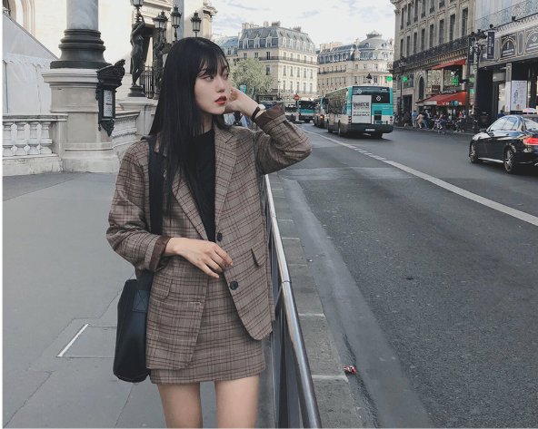 plaid skirts suits Girls Female Vintage Autumn elegant Women's Sets (Separate) women two piece outfits 2 piece outfits for women 2