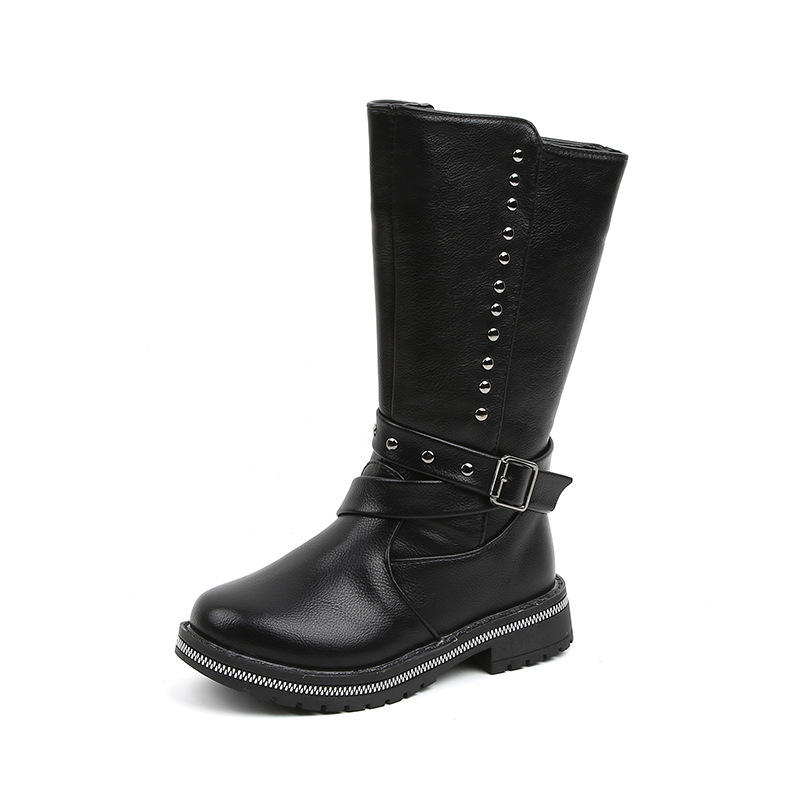 New Rivet Waterproof Shoes Kids Autumn Black Boots Children Winter Shoes Girl 2019 High Snow Boots 4 5 6 7 8 9 10 11 12 Years