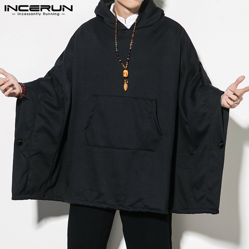 INCERUN 2020 Men Sweatshirts Cloak Solid Hooded Pockets New Fashion Hoodies Mens Loose Streetwear Casual Pullovers Cape Spring