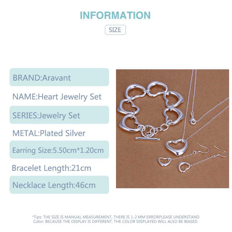 Zestawy biżuterii ze srebra próby 925 romantyczne serce naszyjnik łańcuchy długie łańcuszki dynda kolczyki zestaw bransoletek kobiety biżuteria zaręczynowa
