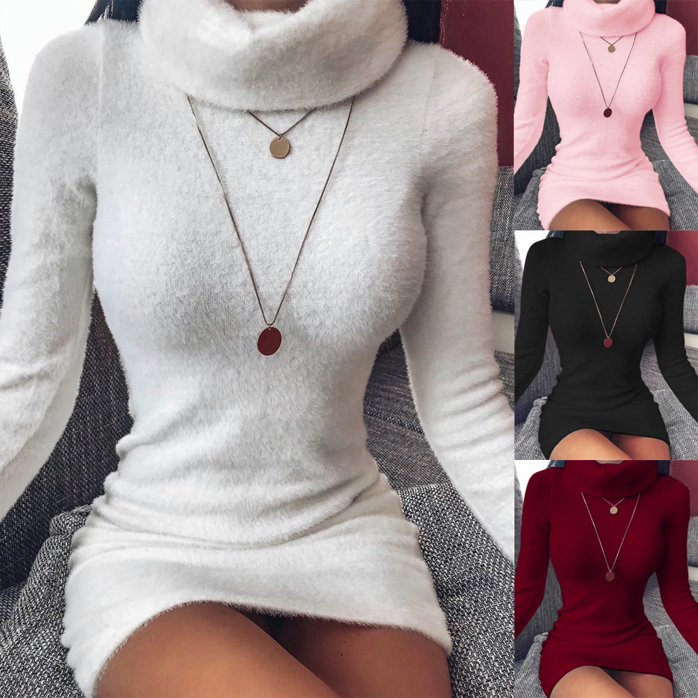 BacklakeGirls Autumn Winter Warm Knitting Cocktail Dress Sexy High Neck Pullover Short Party Dress With Furs Robe Femme Coctel