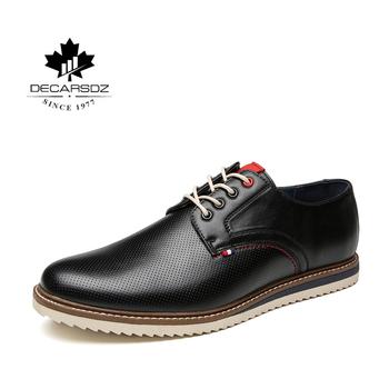 Męskie buty na co dzień 2020 nowe zimowe i wiosenne rekreacyjne obuwie skórzane męskie modne buty biurowe mężczyźni Cowboy Street męskie buty tanie i dobre opinie DECARSDZ Syntetyczny Przypadkowi buty Wiosna jesień DK-S-007 Lace-up Polka dot Dla dorosłych Oddychająca Pot-chłonnym