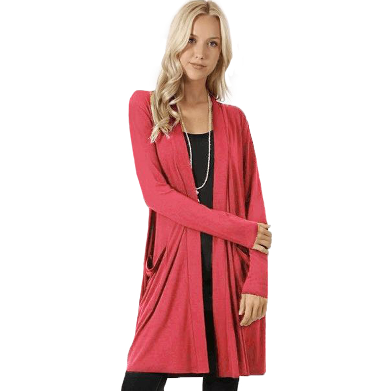 Solid Cardigan  Middle Length Women's Autumn Long Sleeved Thin Loose Coats Outwear Pocket Women's Cardigan Long 4