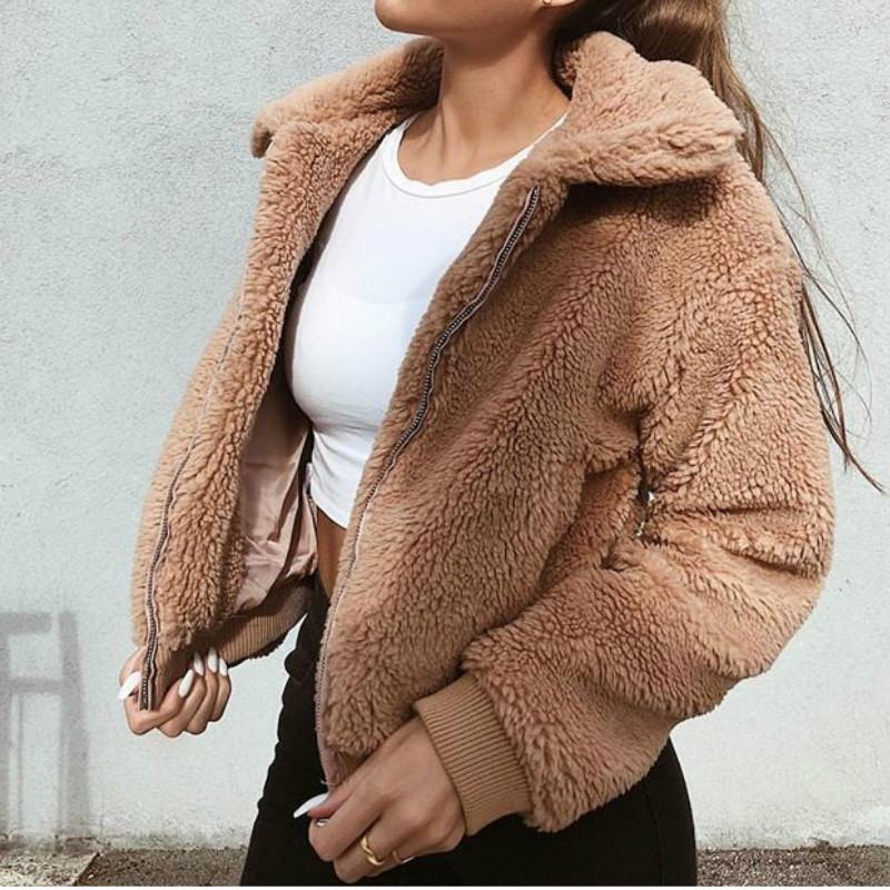 2020 Women Fashion Winter Teddy Coats Long-sleeved Turn-Down Collar Zipper Warm Soft Fluffy Jackets Outerwear