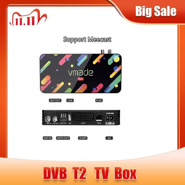 Vmade 2020 דיגיטלי DVB T2 H.265 מפענח HD 1080P DVB T2 terrestrial מקלט תמיכה Meecast USB WIFI youtube DVB t2 מקלט טלוויזיה
