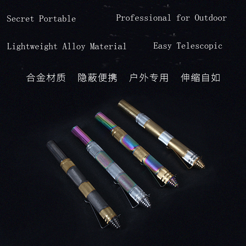 Alloy Self Defenself 3 Sections Telescopic Stick Tactical Pen Rod Agent Pen Car Protection Body Guard Anti-terror EDC Tool