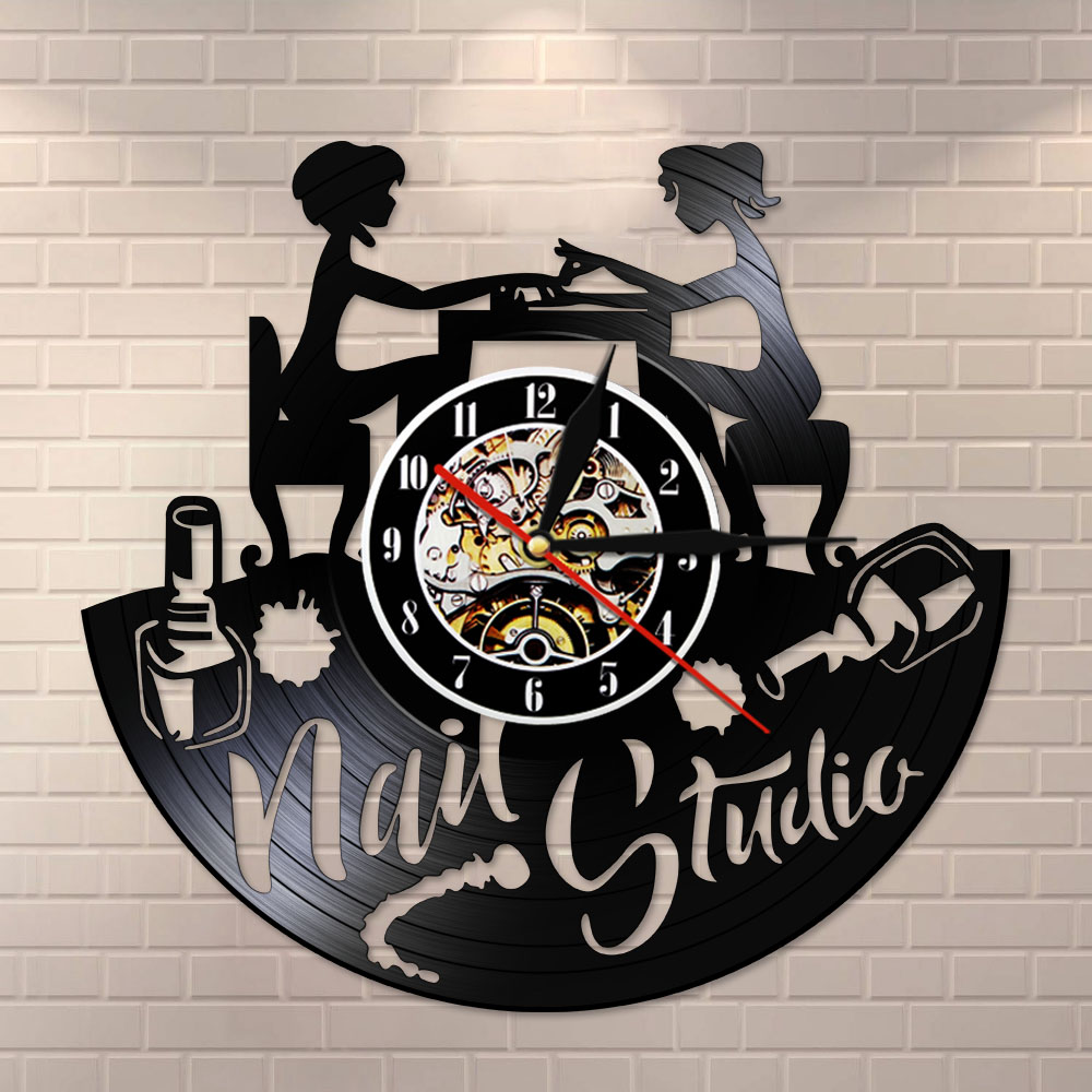 Nail Art Vinyl Record Wall Clock Nail Salon Studio Business Logo Wall Decor Vintage Vinyl LP Silent Wall Clock Manicurist Gift