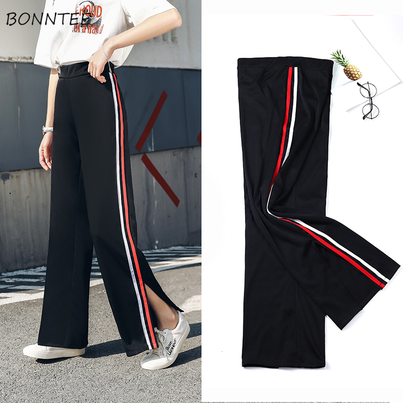Wide Leg Pants Women Plus Size 3XL Striped Elastic Waist Side-slit All-match Womens Trousers Harajuku Leisure Breathable Daily