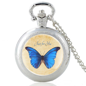 Silver Pretty Butterfly Just for You Glass Dome Quartz Pocket Watch Charm Women Necklace Pendant Jewelry Birthday  Gifts pretty reckless pretty reckless who you selling for 2 lp