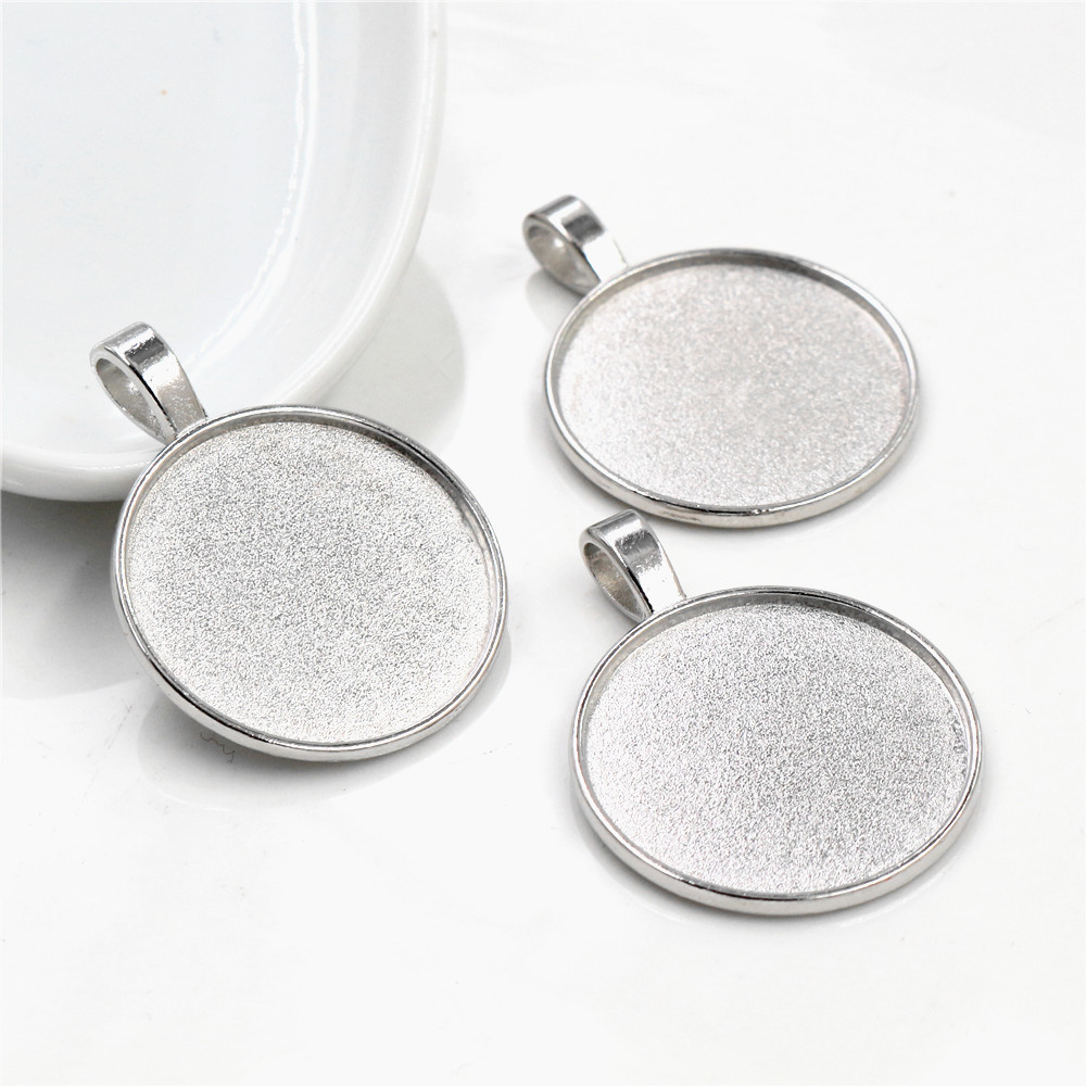 New Fashion 10pcs 25mm Inner Size Rhodium Colors Classic Simple Style Cabochon Base Setting Charms Pendant (A4-39)