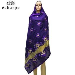 Image 5 - Mais recente africano muçulmano bordado lenço de algodão feminino, algodão bonito e econômico grande senhora cachecol para xales ec199