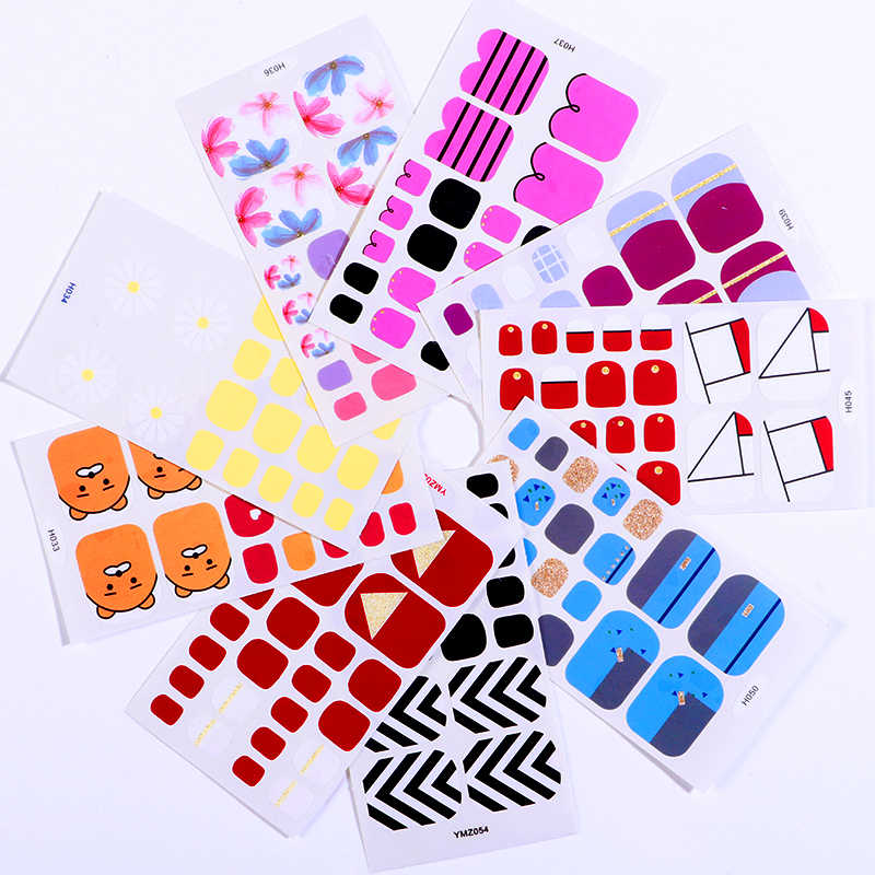 Toe Nail Art Sticker Waterproof Full Cover Yellow Blue Pink Beauty Colors Nail Sticker Wraps Nail DIY Design Decorations Tips