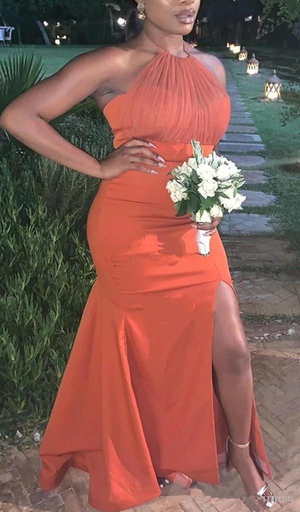 Orange Mermaid Bridesmaid Dresses Halter Backless Side Split Draped African Wedding Guest Gowns Maid of Honor Dress
