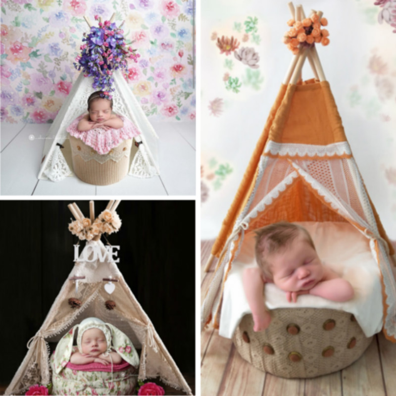 Newborn Photography Props Baby Mini Tent Lace Tent Infant Photo Decorations Baby Shoot Accessories Photo Studio Scene Ornaments