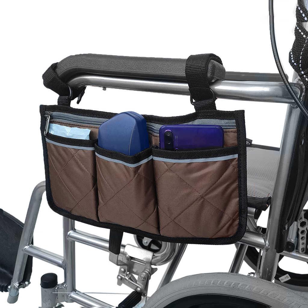 אוניברסלי ווקר תיק Rollator ארגונית פאוץ, כיסא גלגלים קטנוע צד תיק ולשונות ארנק חטיפים אחסון