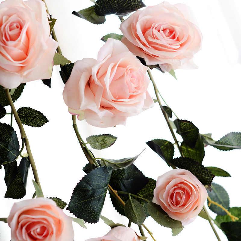 180cm Künstliche Rose Reben Für Hochzeit Hause Dekoration Gefälschte Blume Rattan Rose Silk Blume Ivy Wand Decor DIY Hängen girlande