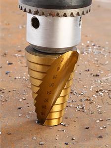 Cutter Drill-Bit-Set Titanium-Coated Cone-Hole Taper-Metric Hex-Core Step Metal 3pc Hss