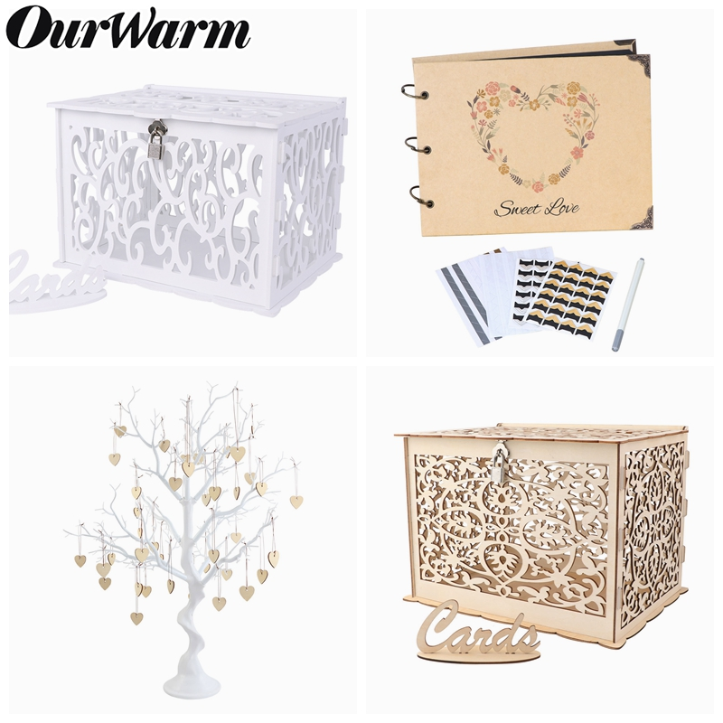 OurWarm Wedding Guest Book Tree Party Center Table Decoration Artificial Wishing Tree Wedding Card Box Guest Photo Album