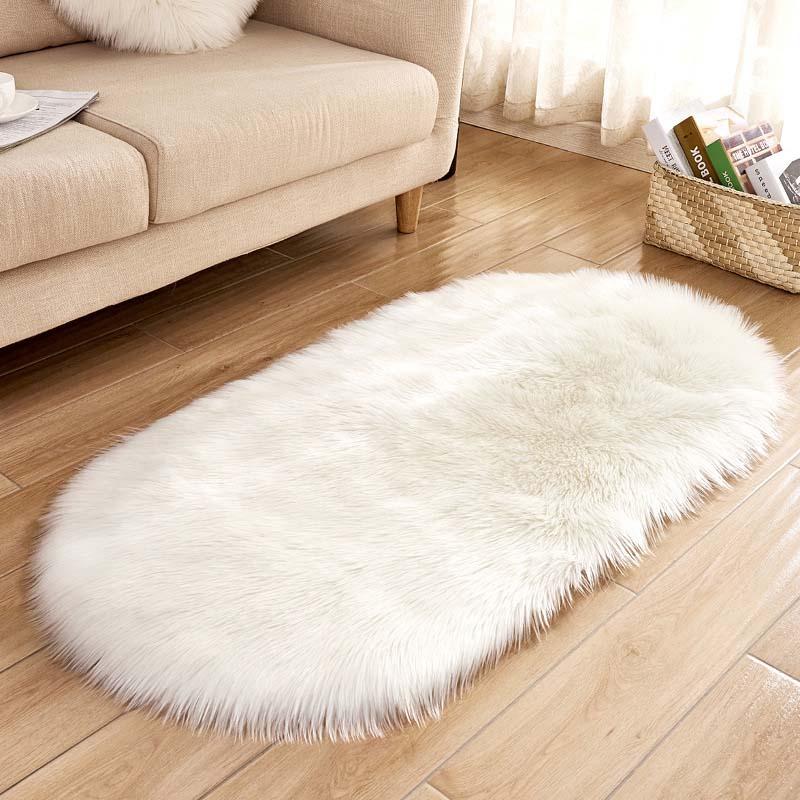 Soft Faux Fur Area Rug Carpets Living Room Long Plush Oval Carpet Artificial Wool Sheepskin Shaggy Rugs Floor Mat For Bedroom|Carpet| |  - title=