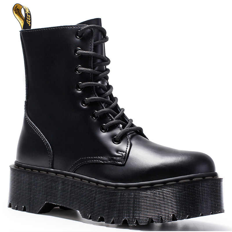 Giày Bốt Nữ Đế Cho Giày Bốt Martin Da Chính Hãng Xe Máy Buộc Dây Mùa Đông Giày Nữ Mùa Đông Giày Nữ Boot