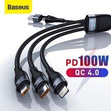 Baseus – câble Micro USB type-c 3 en 1 100W pour recharge rapide, compatible avec iPhone 12/Pro/11/XR, Macbook Pro, Samsung et Xiaomi