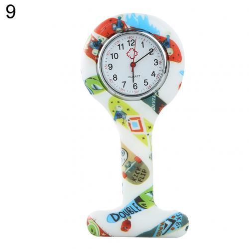 Портативный Зебра арабские печатные цифры Круглый циферблат силикон Медсестра часы Брошь Туника кармашек для часов Часы - Цвет: 9