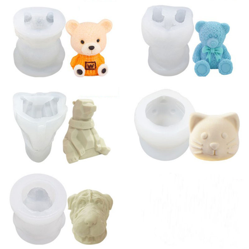 Ice Cube Mold Silicone Cute Animal Ice Cube Mold Abrasive 3D Ice Cube Mold Bear Mold Silicone Creative Coffee Milk Tea Ice cube
