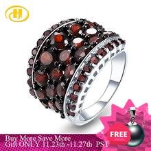 Hutang prata granada anel 925 jóias, pedra preciosa 5.5ct vermelho garnet romã anéis para jóias finas femininas, presente para o natal