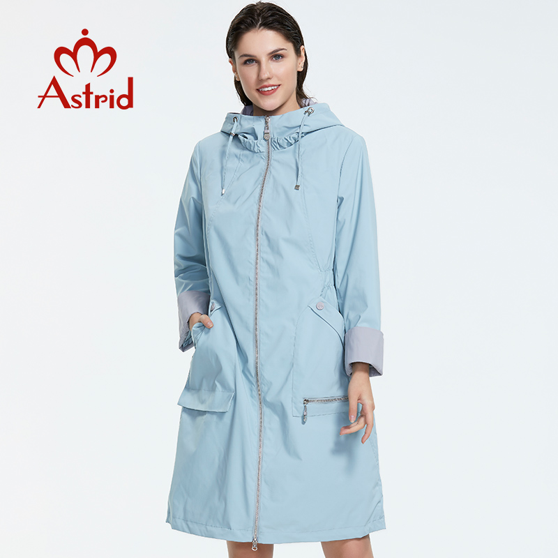 Astrid 2019 New Women Trench Coat Spring Long Hooded Solid Color Coat Lightweight Casual Lady's Windbreak  Collection AS-1992