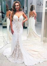 Mermaid Wedding Dress Lace Formal Boho Bridal Dresses Backless Newest Coming V-neck