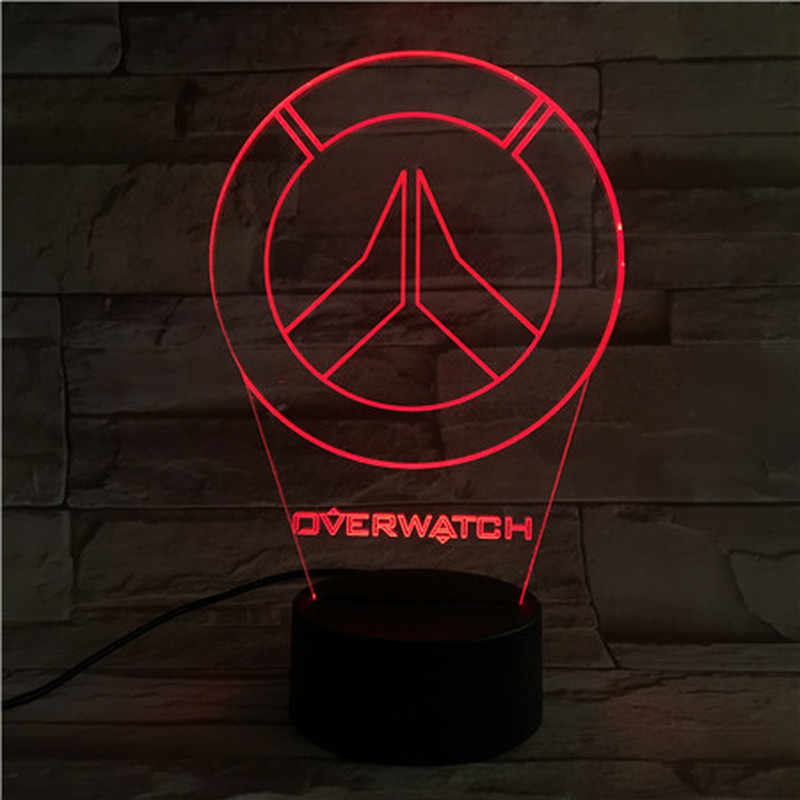 Oyun Led gece işık burcu Overwatch erkek çocuk yatak odası dekorasyon sensörlü ışık tatil hediye OW Logo masa gece lambası başucu