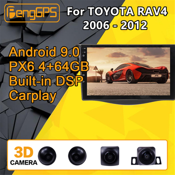 For TOYOTA RAV4 Android 2006 - 2012 Car multimedia Player Stereo PX6 Radio Audio GPS Navigation Head unit 360 Camera Autoradio image