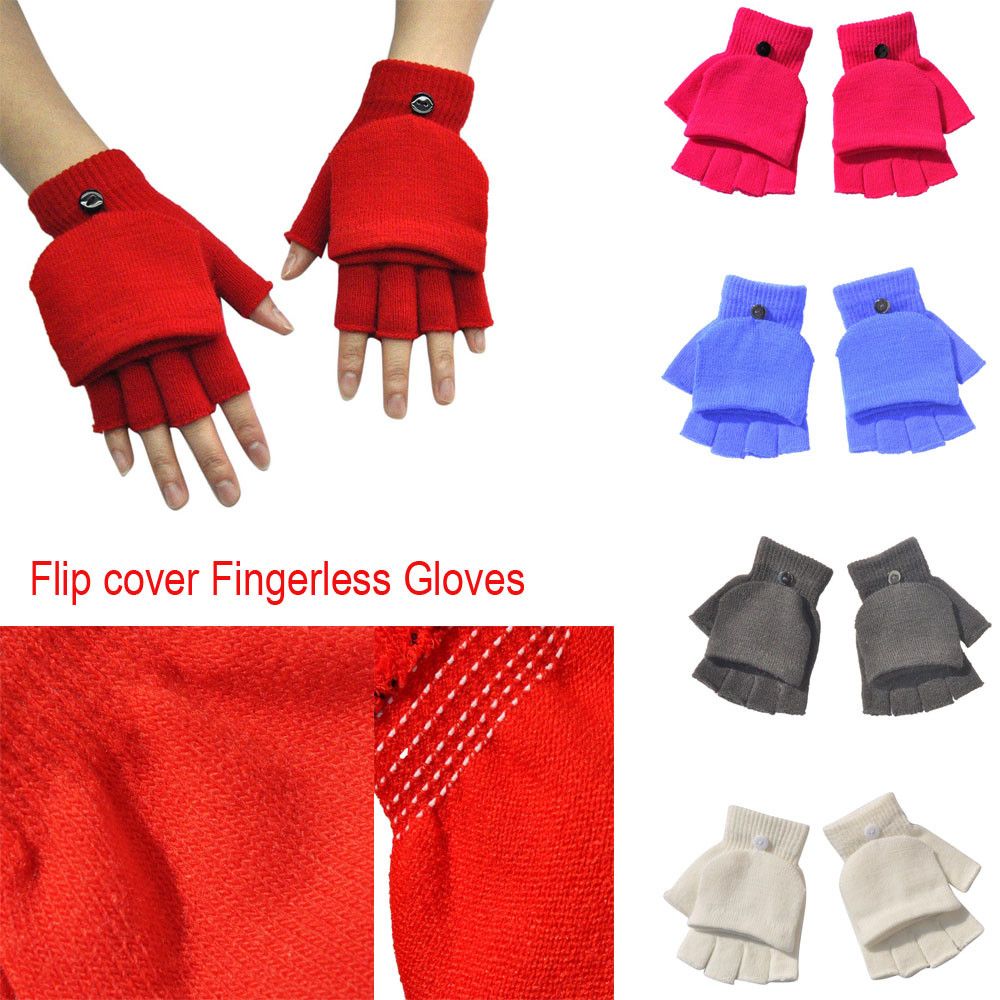 Adult Women Men Winter Hand Wrist Warmer Flip Cover Fingerless Gloves  Guantes Handschoenen Rekawiczki Luvas Rekawiczki Damskie