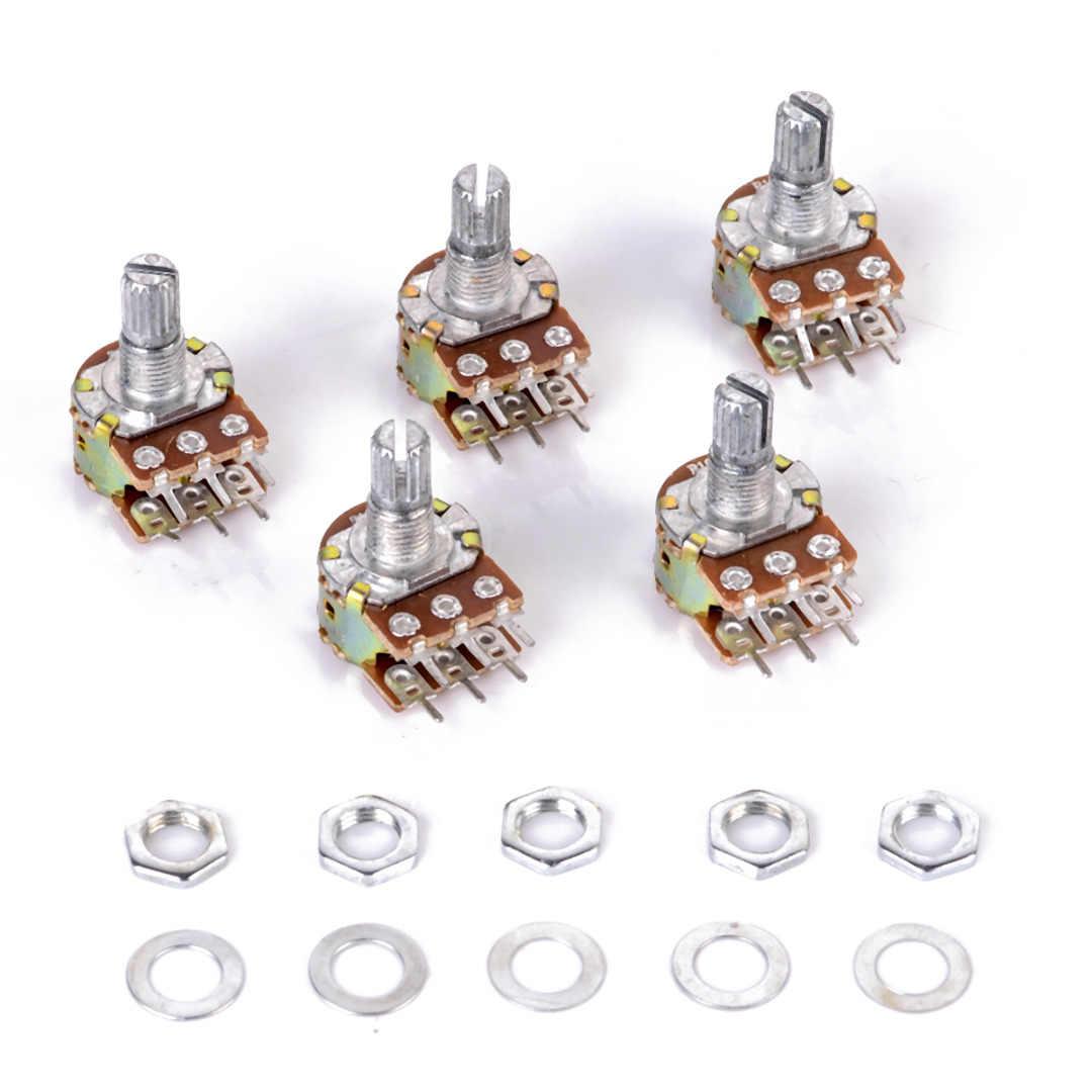 5 шт./лот WH148 линейный потенциометр B10K B1K B2K B5K B20K B50K B100K B500K B1M 15 мм вал с гайки и шайбы 6 Pin для Arduino