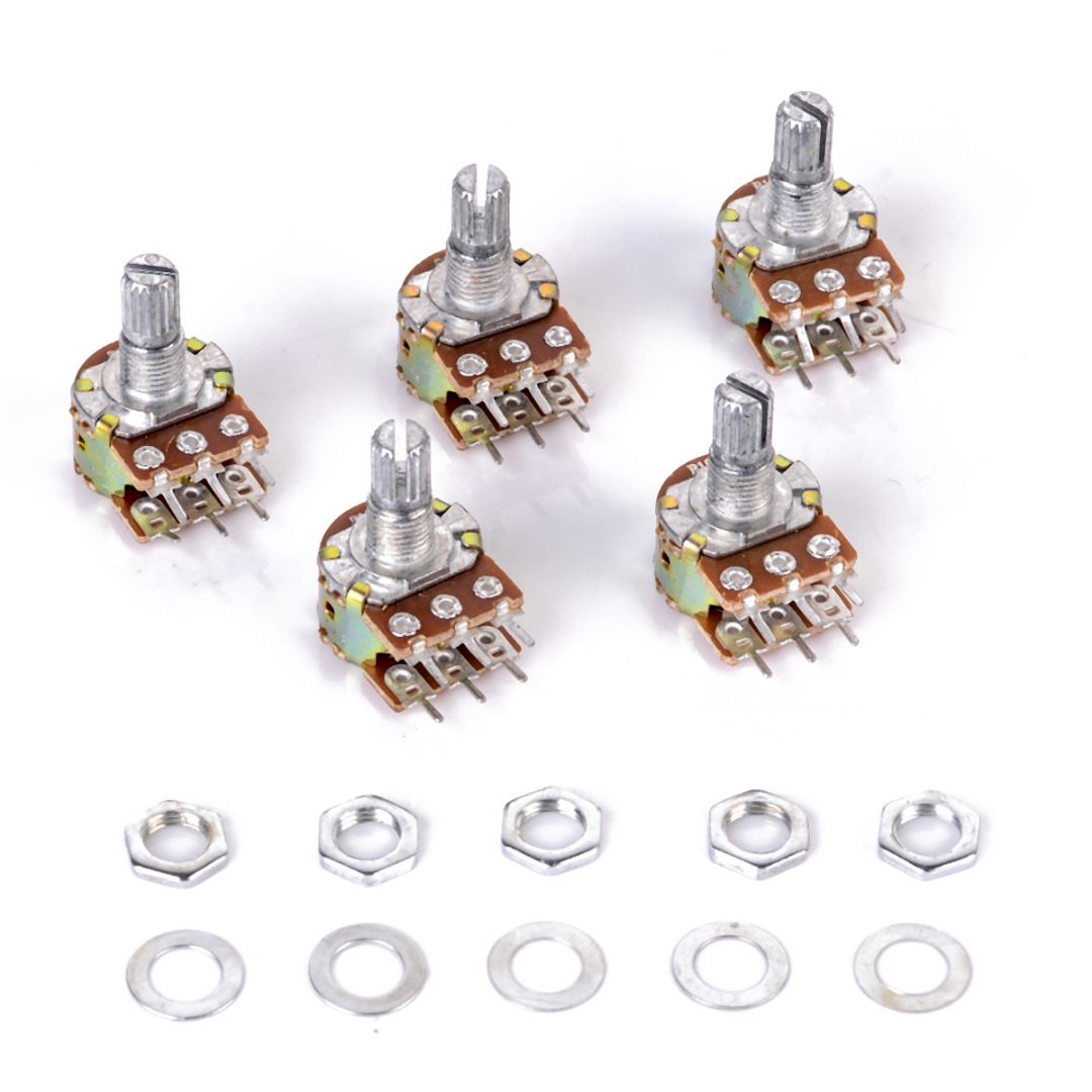 5pcs/lot WH148 Linear Potentiometer B10K B1K B2K B5K B20K B50K B100K B500K B1M 15mm Shaft With Nuts Washers 6 Pin For Arduino