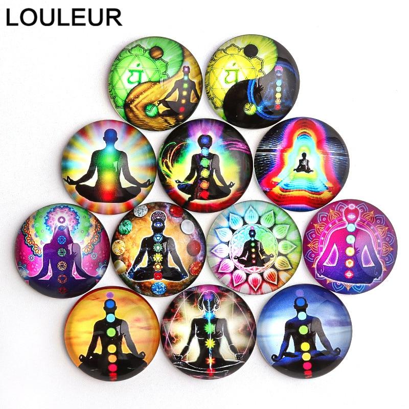 20 pièces/lot 6 Chakras bouddha méditation ronde Photo Cabochons en verre pour la fabrication de bijoux résultats Bracelet boucles d'oreilles Bases paramètres
