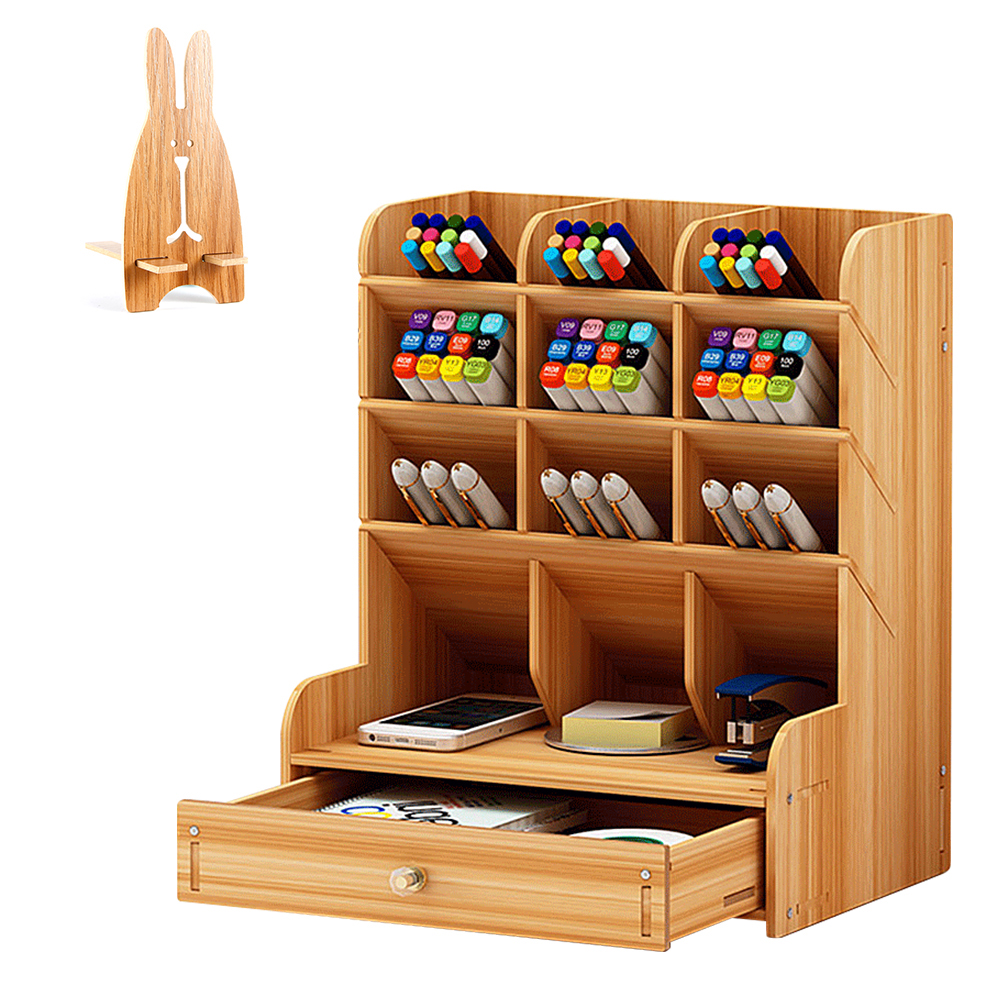 Multi-Function File Tray Wood 13 Grids Desktop Stand Holder Cosmetic Brush Storage Box For Pencil Pen Cosmetic Brush Jewelry