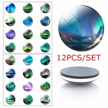 12pcs Aurora Magnetic Refrigerator Stickers 30 MM Glass Cabochon Fridge Magnet Handmade Borealis Natural Scenery Home Decor