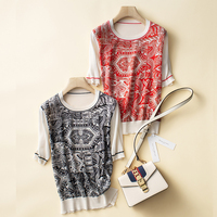 Silk T shirts Women Patchwork Knite Sleeve O Neck Print Top Women Short Sleeve Shirt For Women Basic Elegant New Fashion