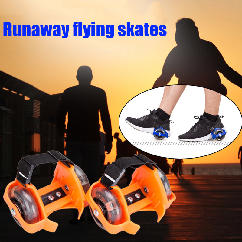 1Pair Light Flashing Colorful Roller Small Whirlwind Pulley Adjustable Simply Roller Skating Shoes Dual Wheels Children Adult