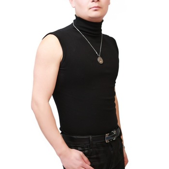 Men Sexy Turtleneck Tops Sleeveless Corset Tight Vest Slim Bottom Shirts Male Tanks Stage Wear Night Club Costume - discount item  51% OFF Tops & Tees