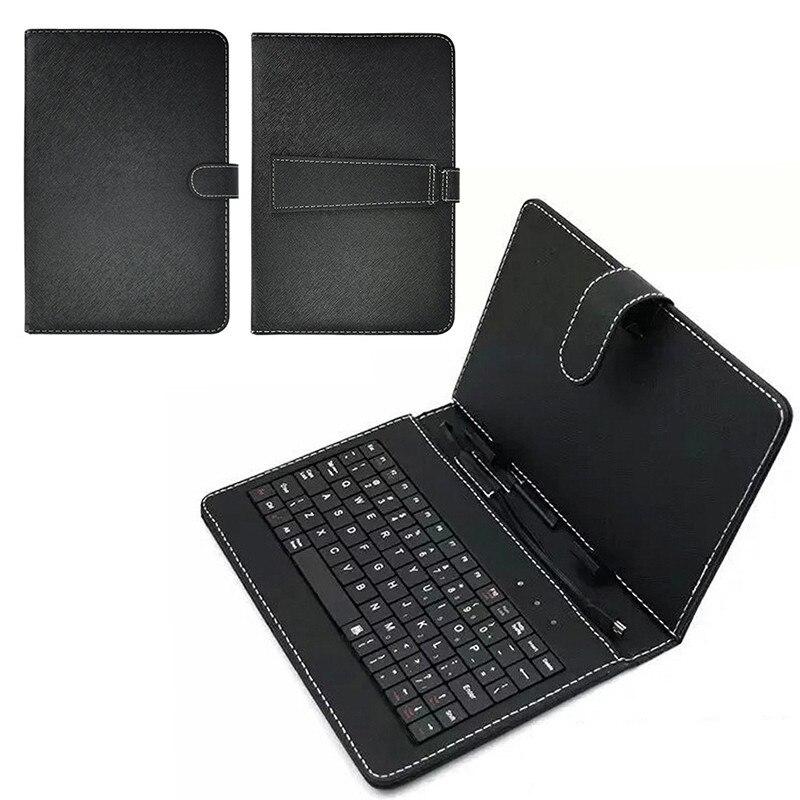 Neue Tastatur Staubdicht Schwarz PU + PC leder abdeckung mit Stand Fall Für android Tablet 10,1 Inch mit Eingebautem USB wired Tastatur